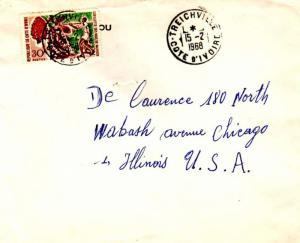 Ivory Coast 30F Cabbage Tree 1968 Treichville, Cote d'Ivoire to Chicago, Ill....