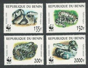 Benin MNH 1086a-d Python Snakes WWF 1999