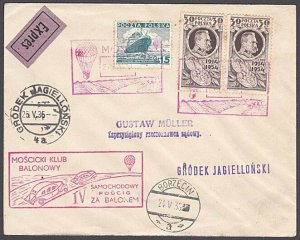 POLAND 1935 Balloon car chase cover - special cancels.......................A570