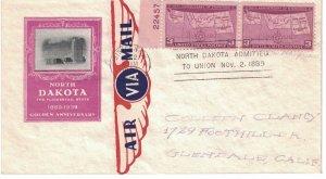 #858 FDC, 3c North Dakota 50th, Ioor cachet, plate # pair