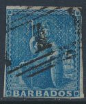 Barbados SG 10 SC# 6  Used  Deep Blue 3+  margins please see scans and details