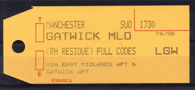 GB = (1994) ROYAL MAIL `Bag Tag` MANCHESTER to GATWICK. Unusual. (01.16)