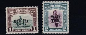 NORTH BORNEO  1941  S G 318 - 319  WAR TAX  MH
