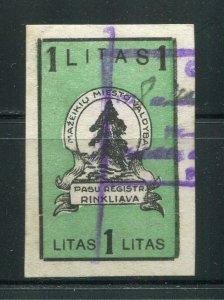 x225 - LITHUANIA Mazeikiu 1928 Municipal REVENUE Stamp. Fiscal