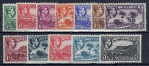 Montserrat 1938-48 set to £1 perf 12 and 13 MLH/MH