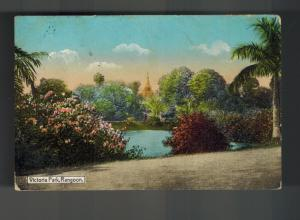 1945 Rangoon Burma Picture Postcard Cover to London England Victoria Park