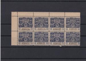 Argentina 20 Centavos Mint Never Hinged Revenue 1921 Stamp Block Ref 27731