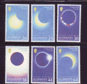 Alderney Sc 128-33 1999 Solar Eclipse stamp set mint NH