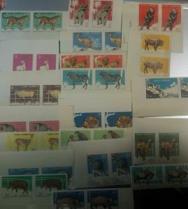 O) 1964 CUBA-CARIBE, IMPERFORATE,ZOO-BUFFALO,ELEPHANT-DEER-KANGAROO-LIONS-ELAND-