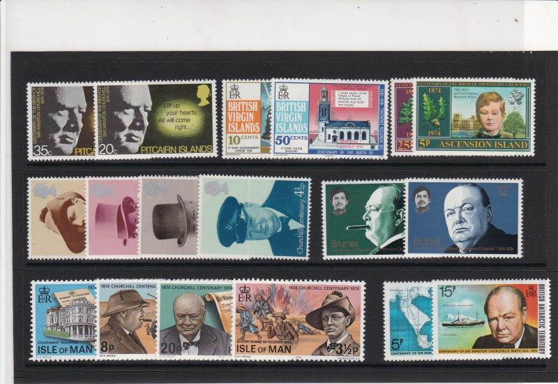 Sir Winston Churchill Mint Never Hinged Stamps - some Isle of Man Ref 27078