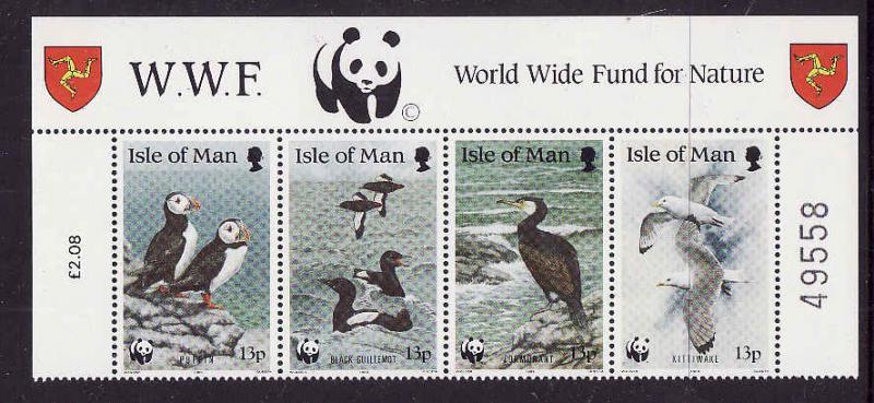 Isle of Man-Sc#402a-unused NH strip-Birds-Puffins-WWF-1989-