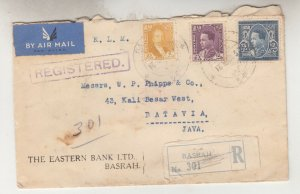 IRAQ, 1937 KLM Airmail Reg. cover, Basrah to Neth. East Indies, 10f, 25f, 75f.