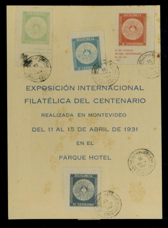 Uruguay #410-13 Used on Expo Card F-VF Cat$8+