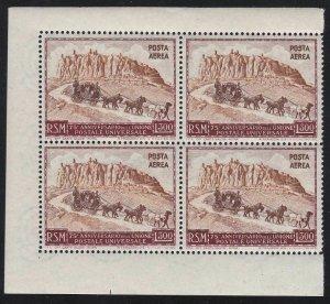 1951 San Marino, Pa N° 95 Upu 300 Lire Brownish-Red And Bruno MNH / Quartina