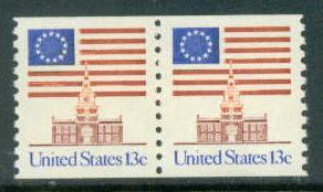 1625 13c U.S. Flag Fine MNH Pair