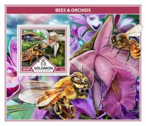 SOLOMON ISLANDS - 2017 - Bees and Orchids - Perf Souv Sheet - MNH