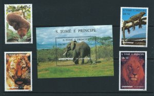 St. Thomas & Prince Islands MNH S/S & 4 Stamps 1237-41 Wild Animals & Greenpeace