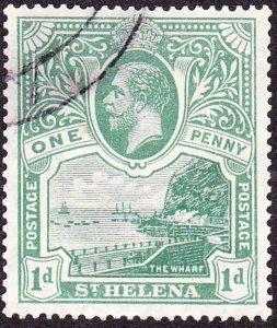 ST HELENA 1922KGV 1d Green SG89FU