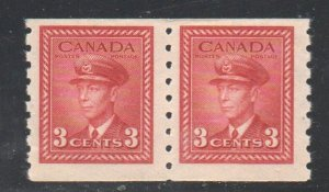 Canada Sc  265 1942 3 c G VI dark carmine war issue coil stamp pair mint NH