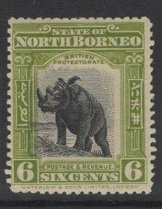 NORTH BORNEO SG167 1909 6c OLIVE-GREEN MTD MINT