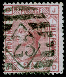 SG139, 2½d rosy mauve plate 1, USED. Cat £120. WMK ANCHOR. JD