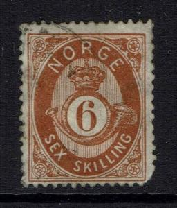 Norway SC# 20, Used, Hinge Rem, clipped corner, lt crease, see note - Lot 041617