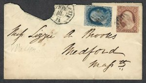 $US Sc#22+26 on cover March 18, 1861 Philadelphia, Crowe Cert., Plate#11