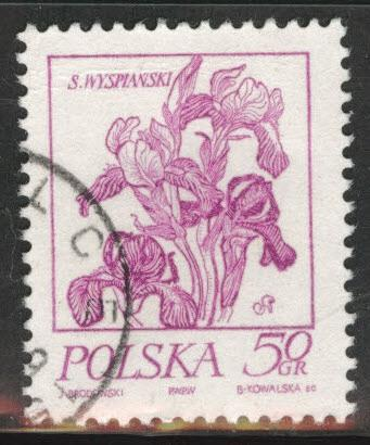 Poland Scott 2017 Used 1974 Flavor caneled Flower stamp