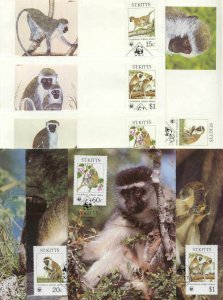 St.Kitts 8 FDC/cards WWF/Monkies 1986