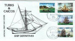 1984, Turks & Caicos Islands: Ship Definitives, FDC (S18887)