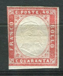 ITALY; SARDINIA 1855 classic Imperf issue Mint hinged Shade of 40c. value