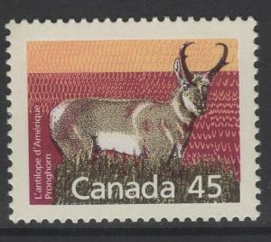 CANADA SG1270b 1990 MAMMALS 45c PRONGHORN PERF13 MNH
