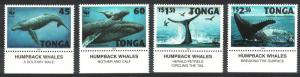 Tonga WWF Humpback Whale 4v Bottom Margins with Descriptions SG#1337-1340