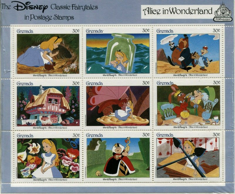 GRENADA Disney Classic Fairytales Postage Stamps Souvenir Sheets Collection MNH