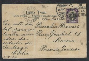 CHILE  (P3108B) 1926    15C ON PPC SANTIAGO TO BRAZIL