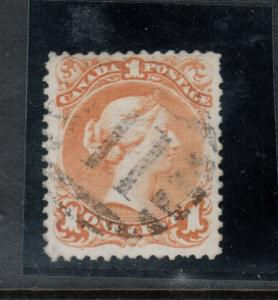 Canada #23 Used Fine - Very Fine With Ideal #11 Grid Cancel