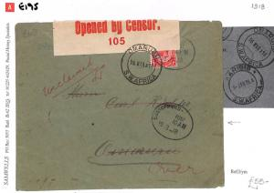 E195 1918 (WW1) South West Africa - Opened by Censor '105'