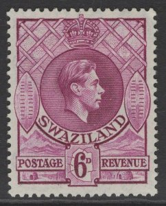 SWAZILAND SG34a 1943 6d DEEP MAGENTA p13½x14 MTD MINT