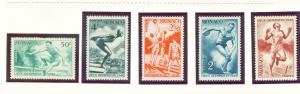 Monaco 1948 Olympic stamps Scott 204-8 MH*