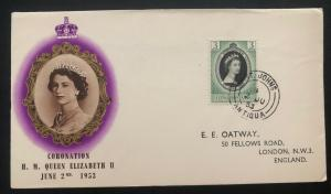 1953 St Johns Antigua First Day Cover QE2 Queen Elizabeth coronation To London