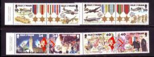 Isle of Man Sc 635-42 1995 VE Day WW II stamp set NH