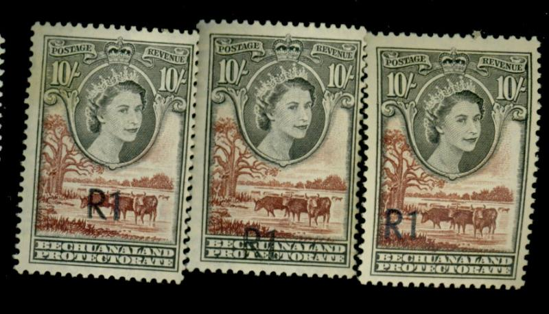 Bechualand Protectorate #179 (3) R1 Diff Positions F-VF OG LH Cat$45