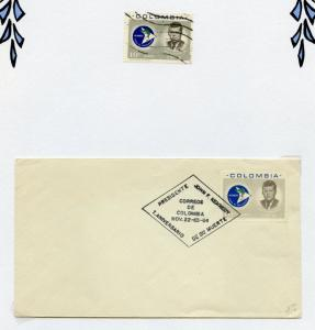 COLOMBIA JOHN  KENNEDY MEMORIAL STAMP ON TWO DIFFERENT FDCS