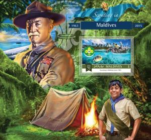 MALDIVES 2015 SHEET BADEN POWELL SCOUTS mld15-1109b