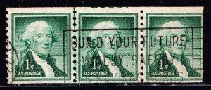 US STAMP #1054 1¢ George Washington Liberty Series LINE STRIP OF 3 PL# USED