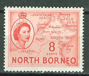 North Borneo #266  8c QE II - Map (1) Mint NH