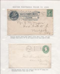 Boston Mass, Six Envs w/American Machine 1890//94 Cnls, M...