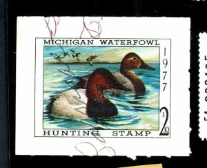 Michigan State Duck Stamp #2 Used F-VF Thins Cat $35
