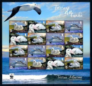 [94513] Tristan da Cunha 2013 Birds Vögel Oiseaux Albatross WWF Sheet MNH
