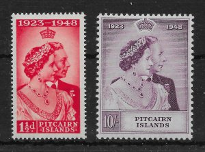 PITCAIRN ISLANDS SG11/2 1949 SILVER WEDDING SET MNH